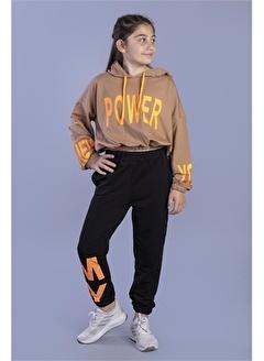 Toontoy Kids Toontoy Kız Çocuk Crop Model Kapüşonlu Baskılı Eşofman Takımı